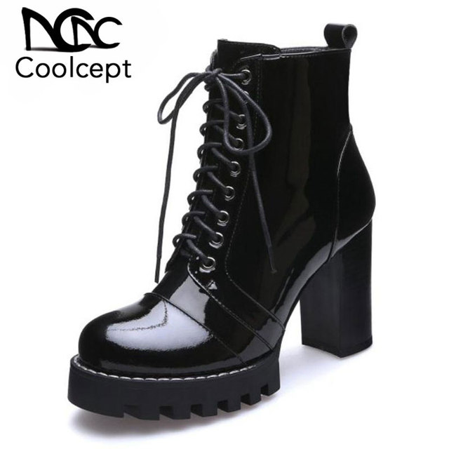 Coolcept Women High Heel Boots Ankle Genuine Leather Shoes Women Lace Up Round Toe Botas Fashion Platform Woman Size 35-41
