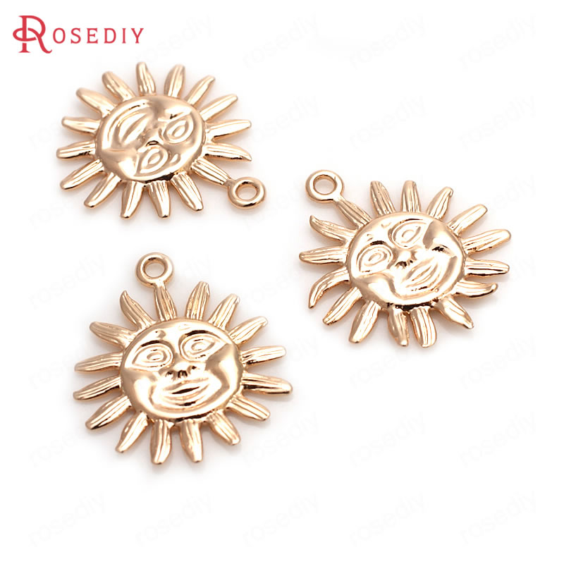 6PCS 17MM 24K Champagne Gold Color Plated Brass Sun Charms Pendants High Quality Diy Jewelry Accessories