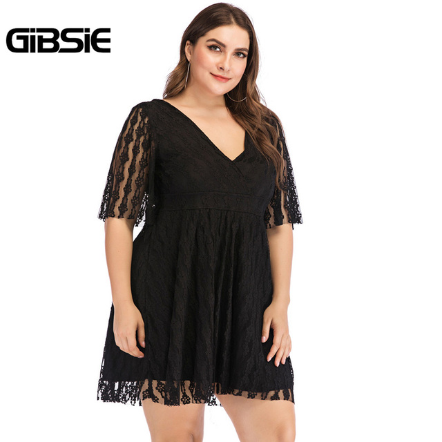 GIBSIE Plus Size V-Neck Backless Sexy Elegant Black Lace Dress 5XL 4XL Women Summer Casual Party Slim High Waist Mini Dresses 3