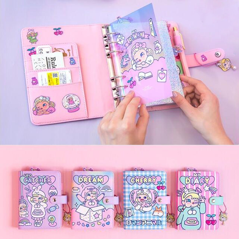 Cartoon Card Holder Bank Credit Business Card Cover Case Cute Girl Travel Planner Notepad Unicorn Rabbit Journal Diary