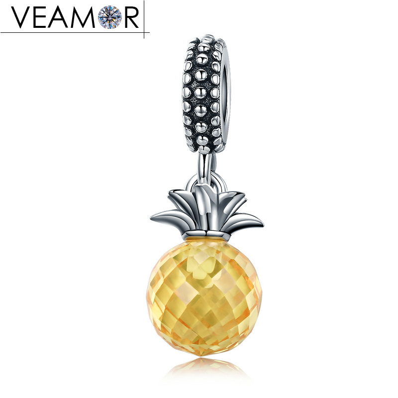 VEAMOR 100% 925 Sterling Silver Yellow Crystal Pineapple Pendant Charms Fit Pandora Bracelets Women Necklaces DIY Jewelry Making