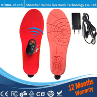 1800mA Wireless Remote Type Battery Powered Heating Insoles Black Memory Foam Material EUR Large Size 41