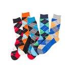 Men happy socks mens cotton sock colorful lattice dress men socks simple packing in tube man sock