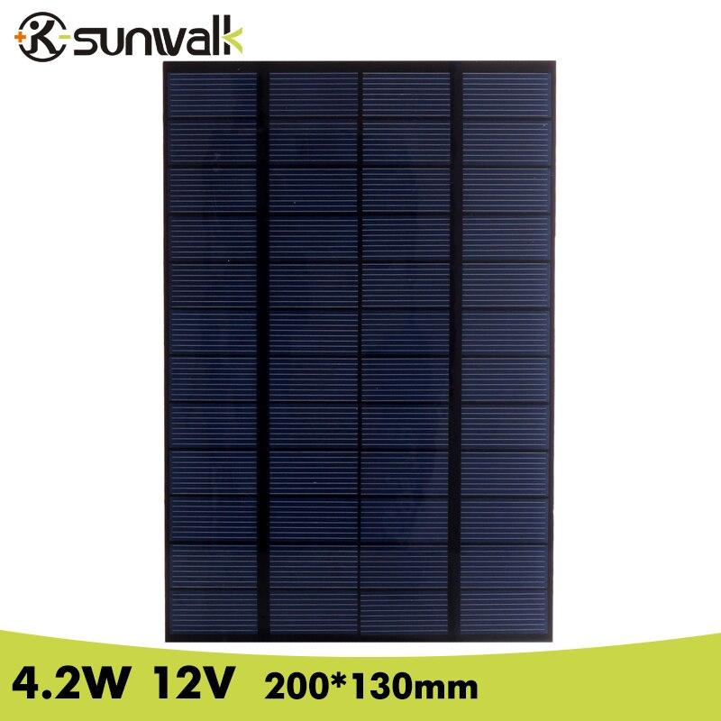 SUNWALK 12V Solar Panel 4.2W Polysilicon Mini 350mA Solar Panel Cell for Test and DIY Solar Module System 200*130mm