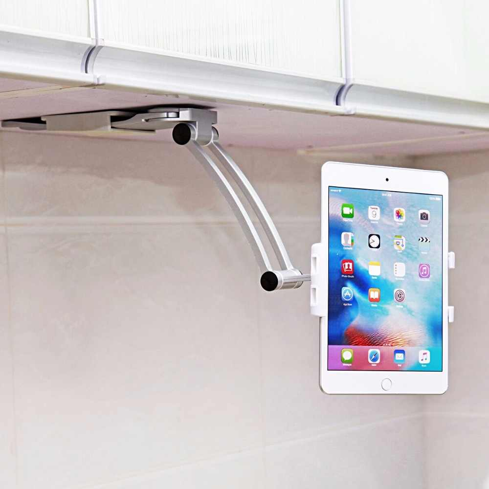 2 in 1 Keuken Mount Tablet Stand Flodable Aluminium Desktop Luie Mensen Hand Gratis Houder Screen 360 Roterende voor iPad Mini