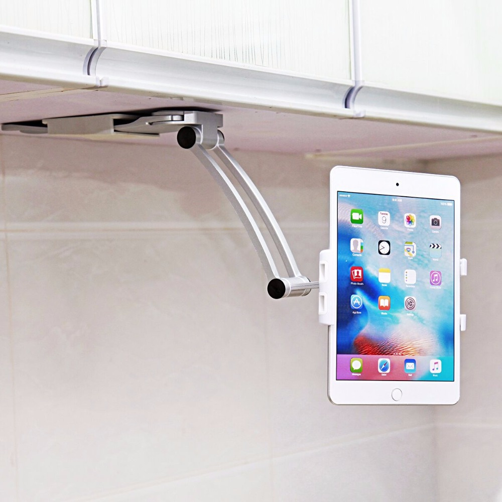 US $12.84 16% OFF|2 in 1 Kitchen Mount Tablet Stand Flodable Aluminum Alloy  Desktop Lazy People Hand Free Holder Screen 360 Rotating for iPad Mini-in  ...