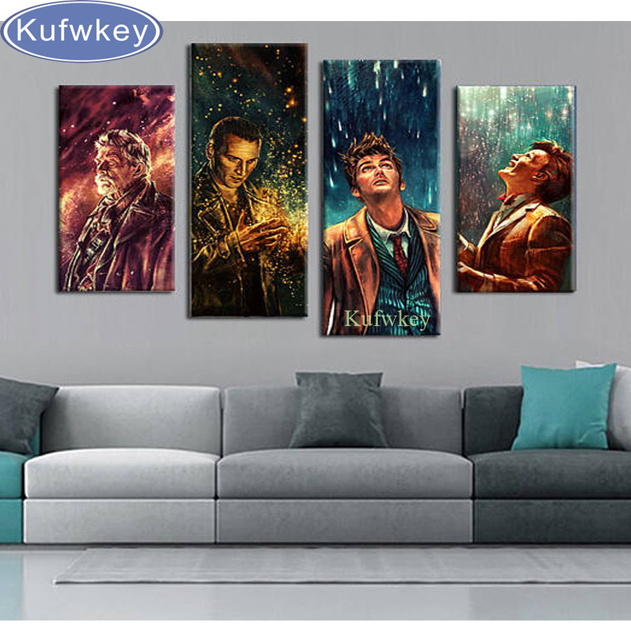 4pcs,Full Square 5D DIY Diamond Painting Doctor Who wall Picture 