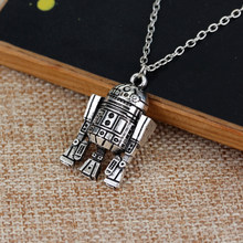 Star Wars Robot R2D2 Pendant Necklace Maxi Long Necklace Jewelry High Quality for Women Men Best Friend Ship Gift Sikver jewelry(China)