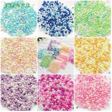 FXINBA 500Pcs/lot Mix Color Resin Pearls For Slime Supplies Clay Round Beads Lizun Clear Slimes DIY Pearl Decoration Toys 10g