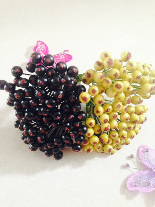 Artificial Crafts Flowers Mini Berry 8mm For Diy Wreath , Hair Decoration Material