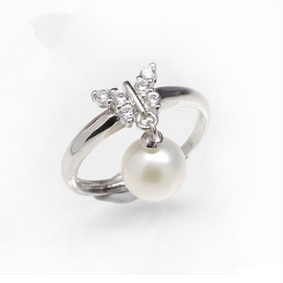 Eternal wedding Women Gift word 925 Sterling silver real Mum S925 adjustment shipping pony freshwater pearl ring Butterfly Pearl mariposa en plata anillo