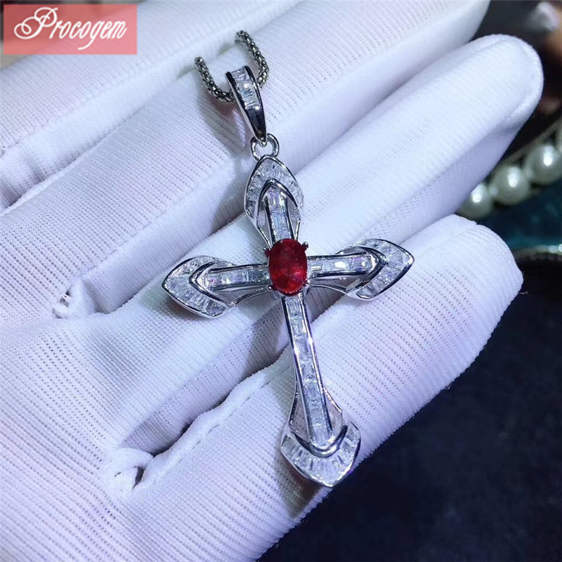 Natural Ruby pendants Cross pendants Natural Ruby pendants 925 sterling silver Genuine Gemston fine Jewelry free shipping #173
