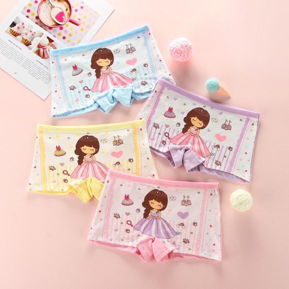 4Pcs/lot Children Girls Cotton Panties Pretty Lovely Cartoon Printed Baby Underwear Kids Boxer Comfortable Soft Panties For Girl