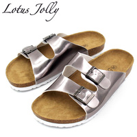 2017 Cork Slippers Women Summer Beach Sandals Floral Cork Slipper Flower Flip Flops Silver Bringt Casual