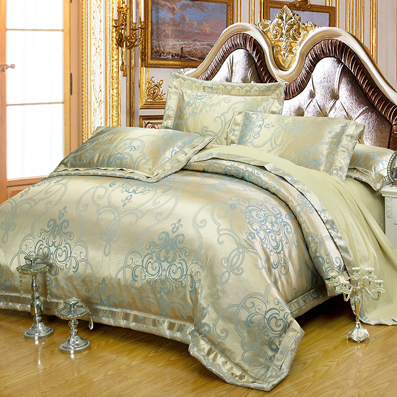 gold jacquard queen king size bedding sets luxury silkcotton satin bedclothes 46pcs duvet cover