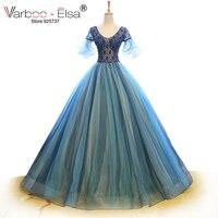 VARBOO ELSA Vestido De Festa 2017 Short Sleeve Evening Dress Blue Tulle Arabic Formal Party Dress
