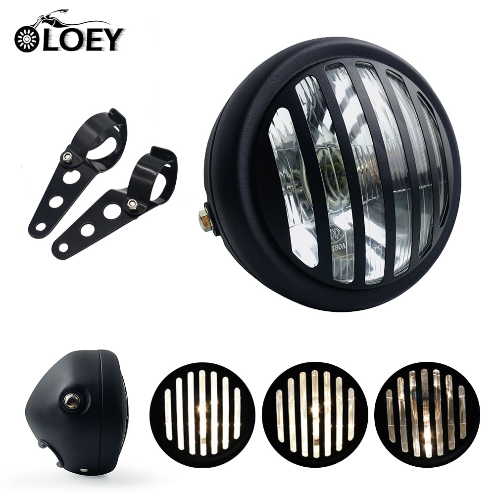 12V Motorcycle Metal Retro Grill Headlight Motorbike Headlights Motor Moto Vintage Front Light Round Lamp For Harley Cafe Racer