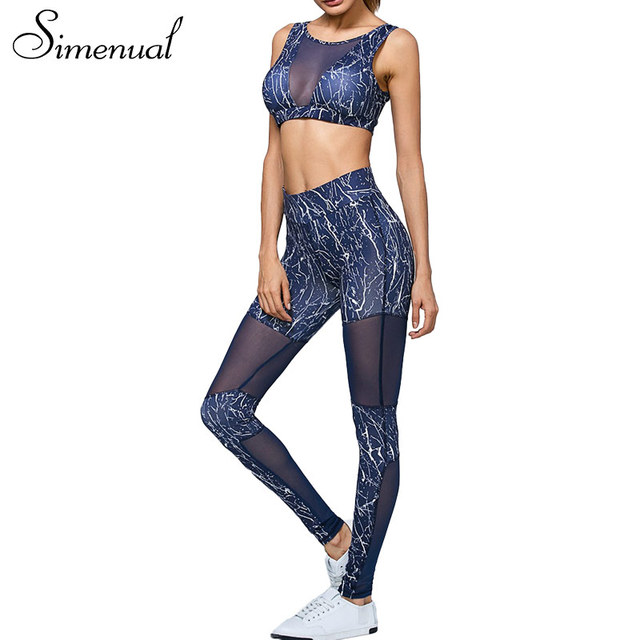 Simenual 2017 Sportswear treino leggings de cintura alta e sutiãs 2 pcs de fitness malha splice mulheres ternos fatos de treino das mulheres elástico