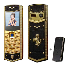 MAFAM V5 Russian Arabic Spanish French Vibration Long Standby Luxury leather car Gold Dual sim card Mobile phone  free case P093