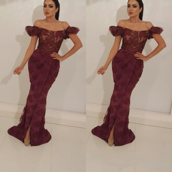 Burgundy Muslim   Evening     Dresses   2019 Mermaid Off The Shoulder Lace Islamic Dubai Saudi Arabic Long   Evening   Gown Prom   Dress