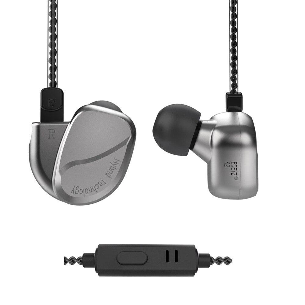 BQEYZ K2 2DD + 2BA Hybride Écouteurs Sport Antibruit Stéréo DJ casque audio en métal 0.78mm 2 PIN Câble Détachable pour iPhone xiaomi
