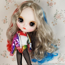 White Skin 30cm Blyth Doll With Long Brown Curl Hair And Cute Dress DIY Body Joint Doll For Child As Gift DIY Hair Style Doll toy gift neo blyth nude doll factory blyth grey mix pink hair centre parting big breast joint body 1 6 30cm doll 280bl1010 9016