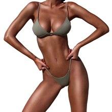 Sexy Solid Top Thong Micro Bikini Women Swimsuit Brazilian Bikinis Set Bathing Suit Beach Maillot De Bain Monokini