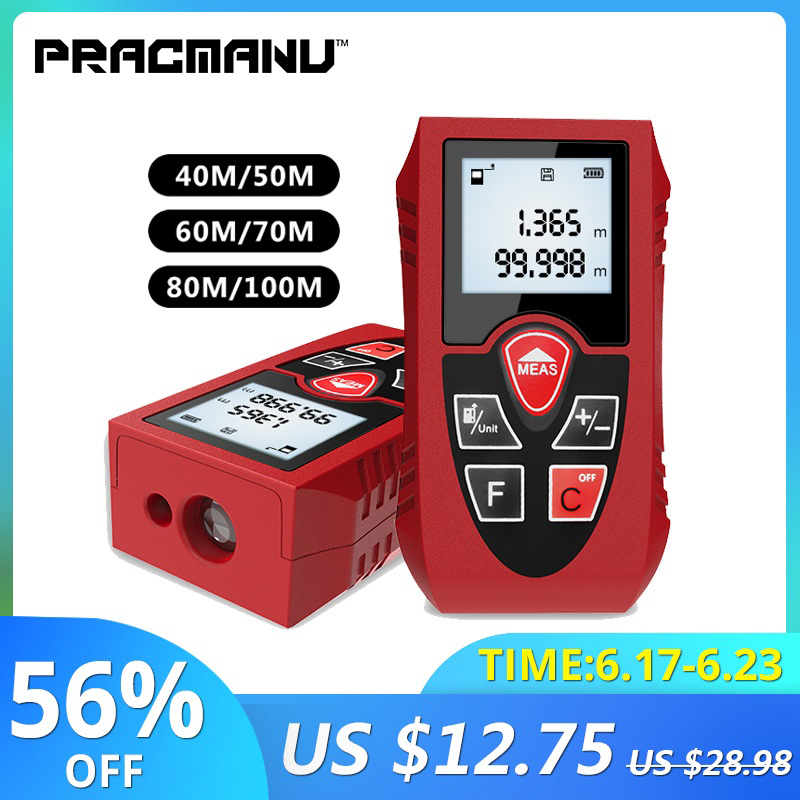 PRACMANU Laser Rangefinders 40M 60M 80M 100M Digital Laser Distance Meter Battery-Powered Laser Meter Device Ruler Test Tool