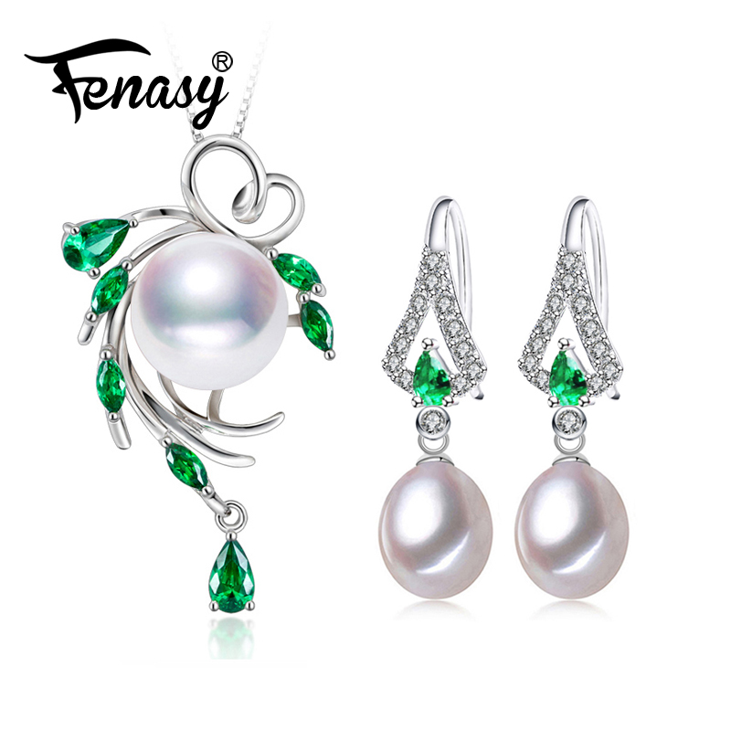 FENASY Pearl Jewelry Sets,Pearl Pendant Necklace Earrings For Women ,Bohemian 925 sterling silver Emerald leaf big earrings set a suit of leaf faux pearl rhinestone necklace and earrings
