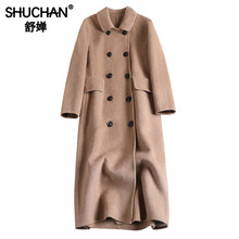 Shuchan Womens Coats Winter Autumn 2019 New Items Woolen Coat Double Breasted Solid Casaco Feminino Outerwear clothing