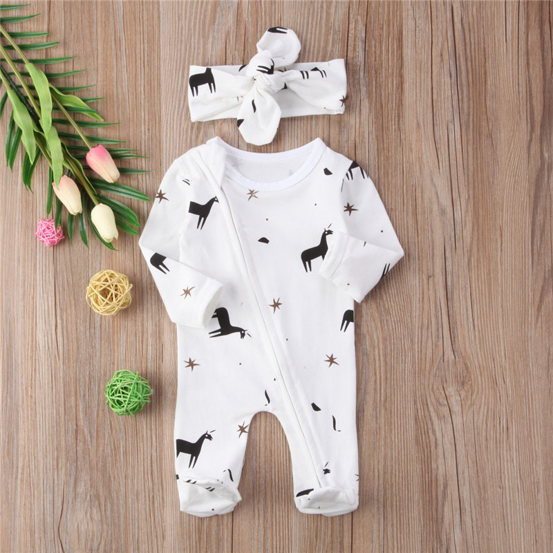 Long Sleeve Cotton Romper For Girls Boys 2018 Newborn Baby Girl Boy Animal Puppy Print Romper Spring Bebes Jumpsuit Baby Clothes