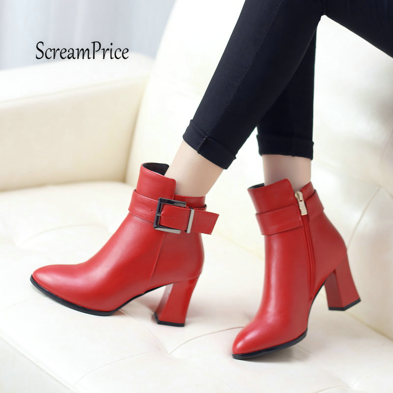 Top Pu Women Fashion Martin Boots Thick High Heel Ankle Boots Side Zipper Buckle Winter Woman Shoes Red Black тетрадь на клею printio бананы