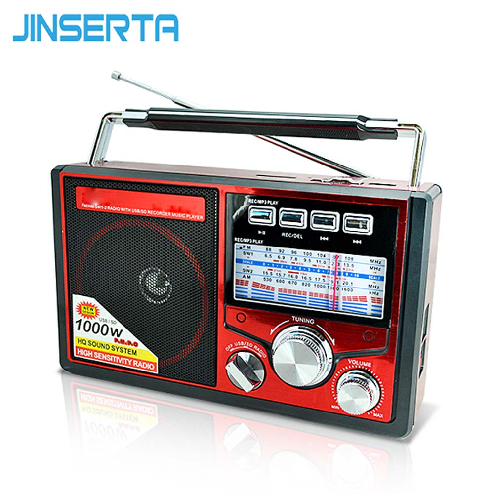 JINSERTA FM/AM/SW World Band Radio Receiver MP3 Player with Flashlight Recording Function Support TF Card U Disk Play