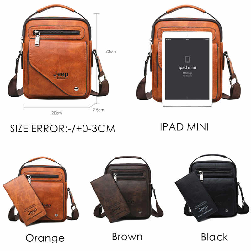 Jeep Buluo Pria Messenger Tas Merek Terkenal Pria Bahu Tas Kulit Selempang untuk iPad Pria Fashion Bisnis Baru tas Tangan