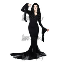 Morticia Addams Dress Gothic Ghost Vampire Dress Morticia Halloween Outfit