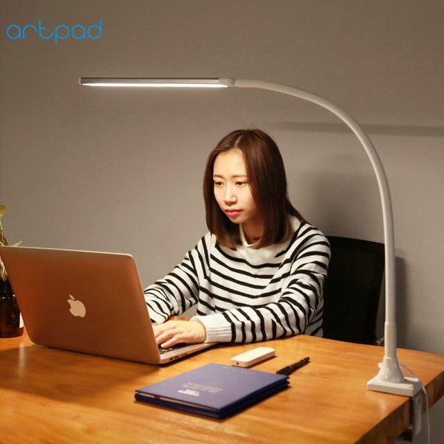リモコンビジネス Led 会社のデスクランプクランプ 5 色温度 5 Brightenss 目のケアロングアームスタディテーブルランプとプラグ