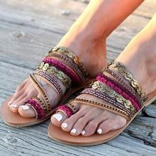 Summer Sandals Women Flat Sandals Celebrity Bohemian Handmade Beaded Rhinestones Women's Shoes Plus Size