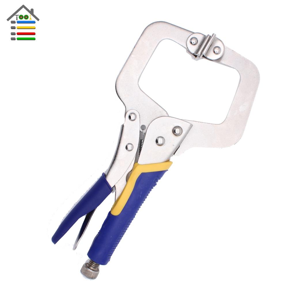 AUTOTOOLHOME C type Vigorously plier Pocket Hole Jig System Face Clamp Vise For Kreg Woodworking Step Drill Bit Adjustable  клещи ручные тиски kreg face clamp khc premium