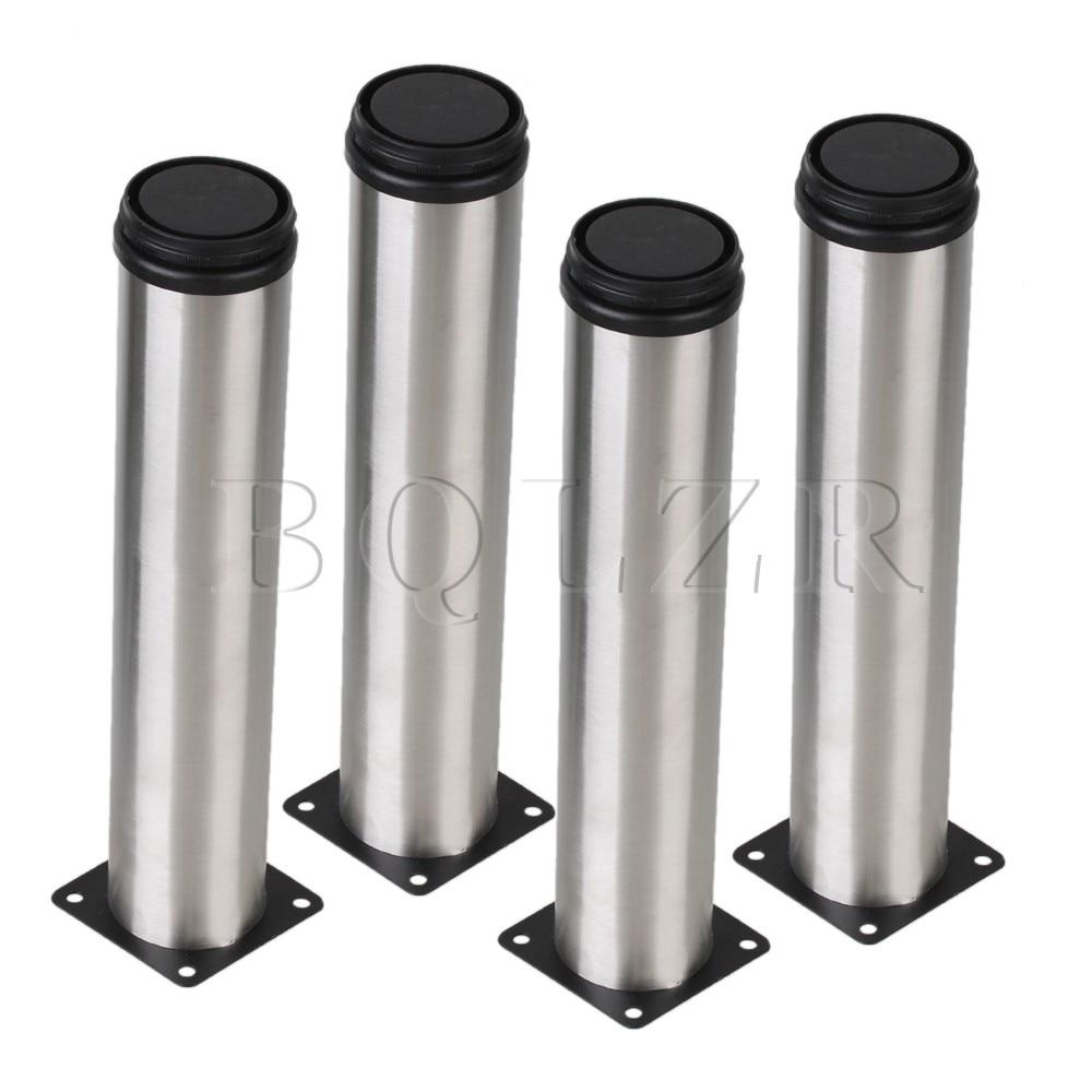 BQLZR 4 x Adjustable Metal Round Plinth Leg For Shelves Furniture Kitchen 50 x 250mm