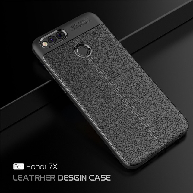 For Huawei Honor 7X 7 X Case Carbon Fiber TPU Silicone Leather Soft Case  Back Cover For Honor 7X shockproof Armor Case Capa 5 93-in Half-wrapped  Case