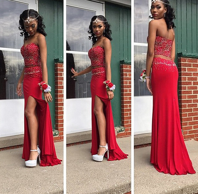 9aa8d2898b1a81 G615 New Fashion Sexy Mermaid Red Heavy Beaded Two Pieces Prom Dress 2018  Long Forma Party