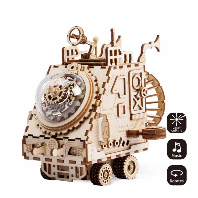 3D Puzzel Robot Musical boxes Laser Cutting Wooden Music box Steampunk Fan Rotatable for Kids DIY Crafts Intellectual Toys