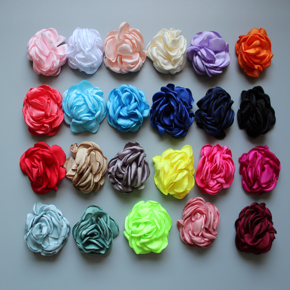 30pcs/lot 6cm 16colors Vintage Burn Eage Hair Rose Flowers For Children Accessories Artificial Fabric Flowers For Headbands