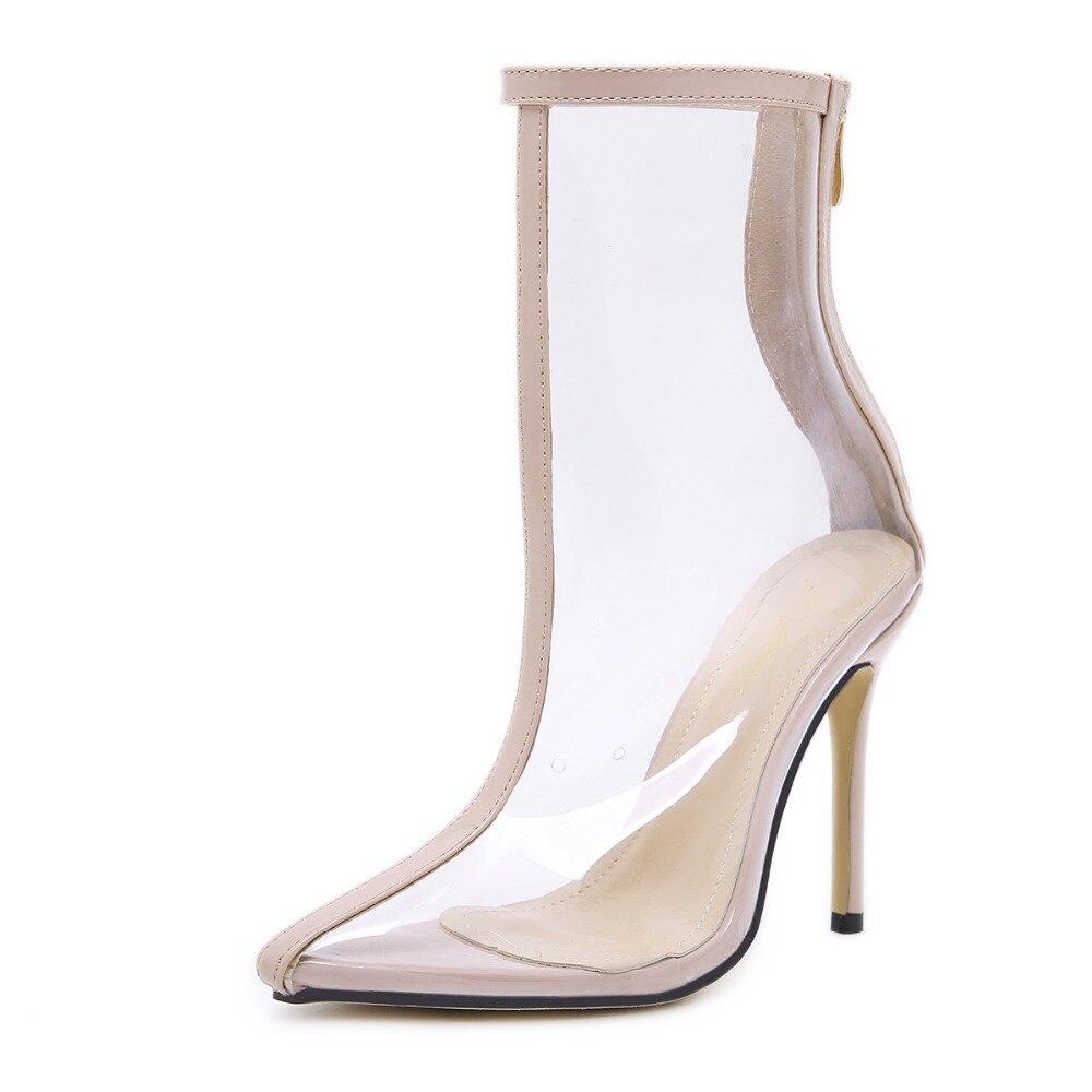 Mode Solides Clair Talons Pvc Couleur Zipper Boot Bottes yellow Style Haute Pointu Transparent Sexy Cheville Pompes Chaussures Retour Nouveau Populaire Bout Beige atF6qfvx