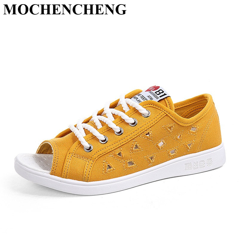 New Casual Shoes Women Hollow Breathable Low Lace-up Flat Canvas Shoes for Summer Peep Toe Solid High Quality Youth Leisure Shoe women s shoes 2017 summer new fashion footwear women s air network flat shoes breathable comfortable casual shoes jdt103