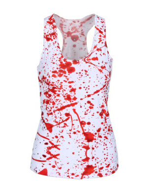 SexeMara KNITTING X-296 New 2015 Women Brand Tops Blood SPLATTER 3D Print T shirts Punk Summer Camisole
