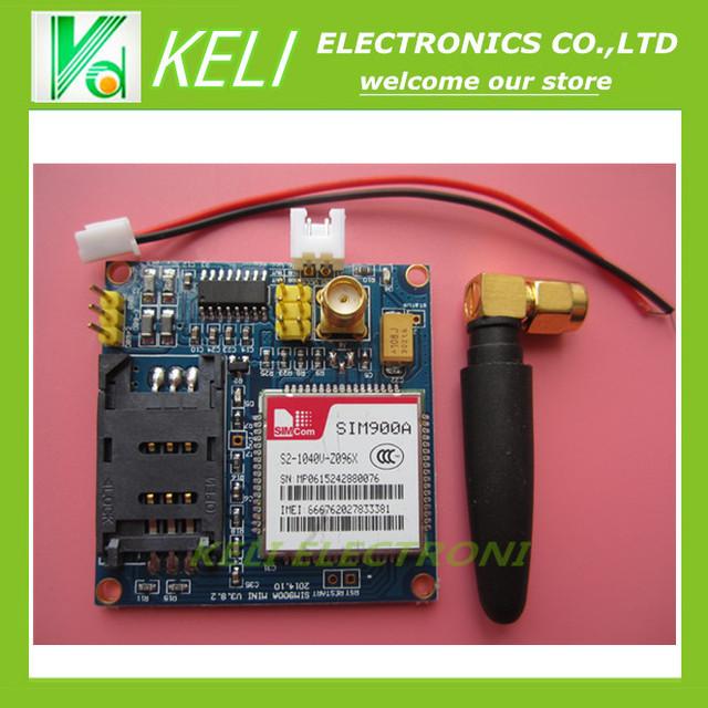 O envio gratuito de 1 PÇS/LOTE Novo SIM900 SIM900A MINI-V4.0 V5.0 Placa GSM GPRS Módulo de Transmissão de Dados Sem Fio Kit w/antena