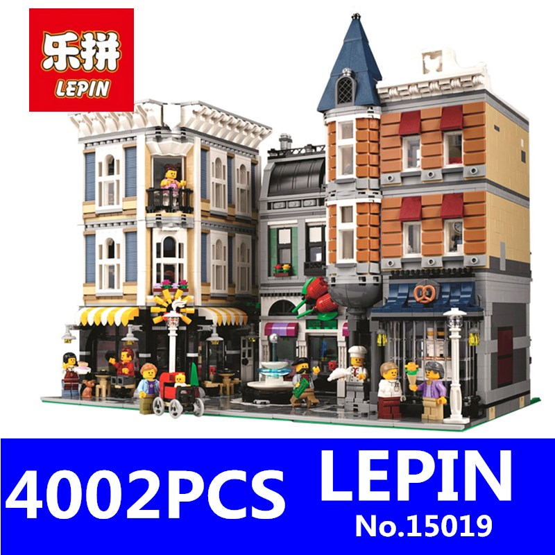 LEPIN 15019 4002pcs Assembly Square Creator City Series Street Building Blocks Kits Brick Educational Toys Gift Compatible 10255 decool 3114 city creator 3in1 vehicle transporter building block 264pcs diy educational toys for children compatible legoe
