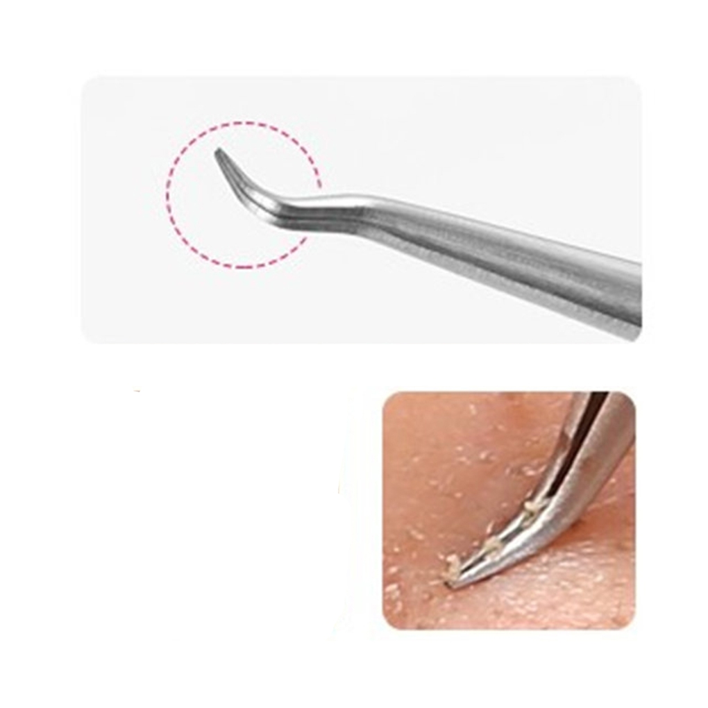 Stainless Steel Curved Straight Blackhead Acne Clips Pimple Comedone Remover Tweezers Face Care Tool Remover Tools Face Cleaner