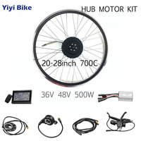 48V 36V 500W DC Motor Wheel Brushless Motor Controller ebike Conversion Kit LCD Display Waterproof Wires bicicleta electrica